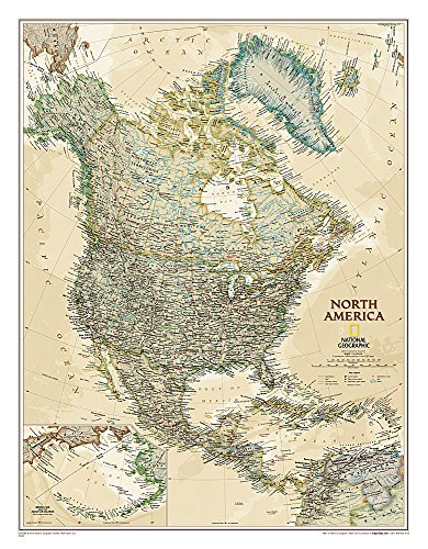 National Geographic: North America Executive Wall Map - Laminated (23.5 x 30.25 inches) (National...