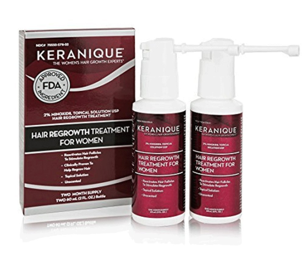 Keranique Hair Regrowth Treatment Extended Nozzle Sprayer – 2% Minoxidil, 4 Fl Oz 60 Day Supply – Regrow Thicker-Looking Hair, Helps Revitalize Hair Follicles