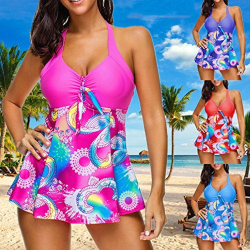 con Set S Costumi Boyshort Junkai Bagno Bikini bagno Swimwear Moda Costume Prospettiva da 5XL pezzi con Tankini Donna Beachwear Da multicolore Set Stampa gonna due Blu qgxFY0nF