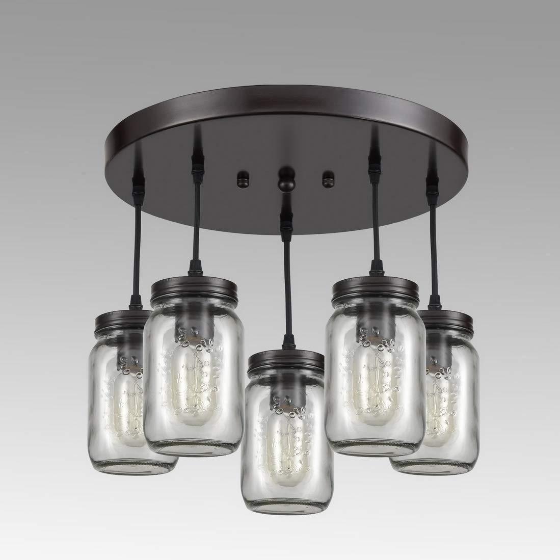 Amazon com eul rustic mason jar semi flush mount ceiling light 5 light pendant lighting fixture oil rubbed bronze home improvement