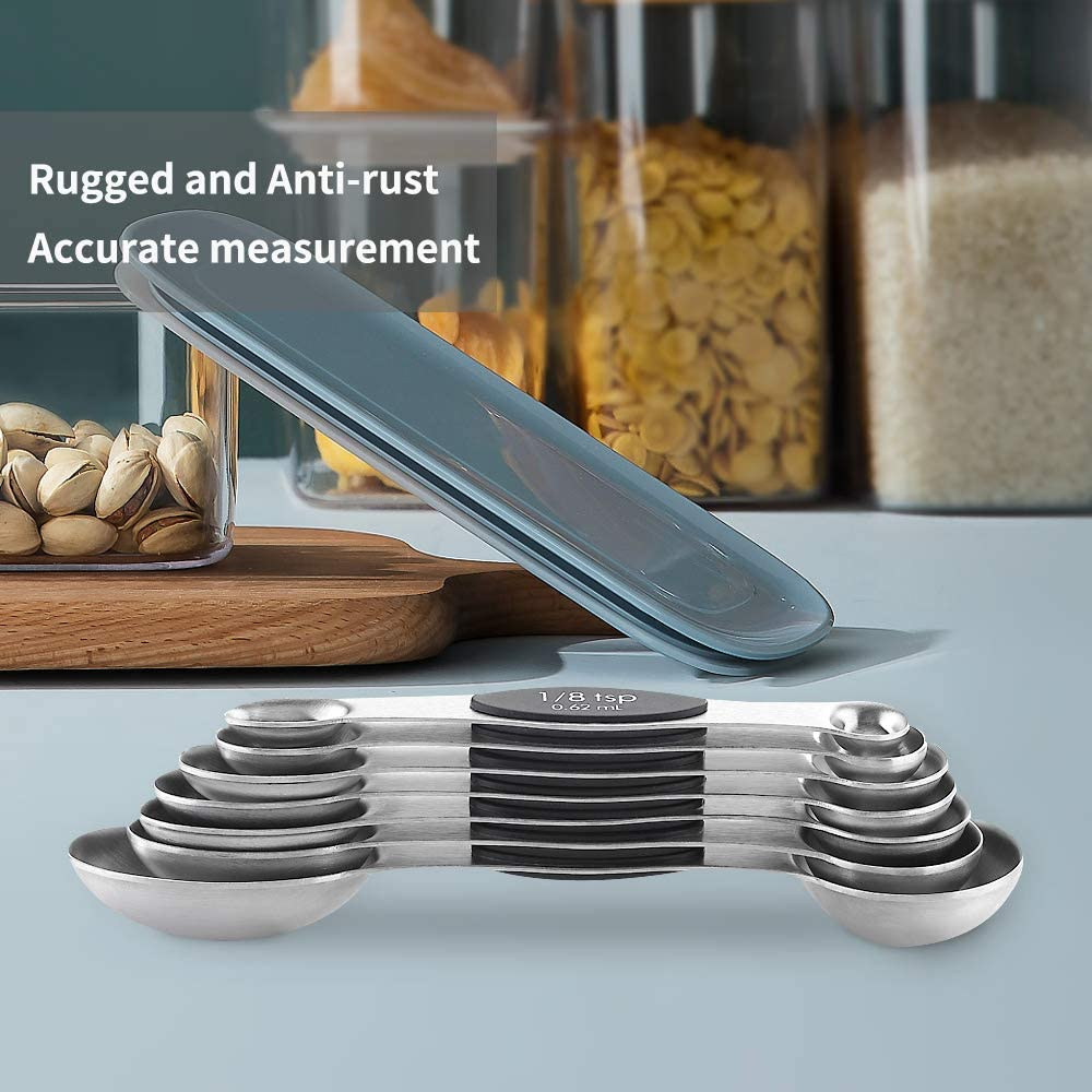 Stainless Steel Stackable Spoon Double Head Design OUYOOOO Magnetic Measuring Spoon Set 8 Piece Set