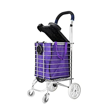 WAOBE Carrito de compras: puede sentarse Carrito de compras Carrito de la compra fácil Carrito de la compra Puede doblarse Estructura de aluminio, ...