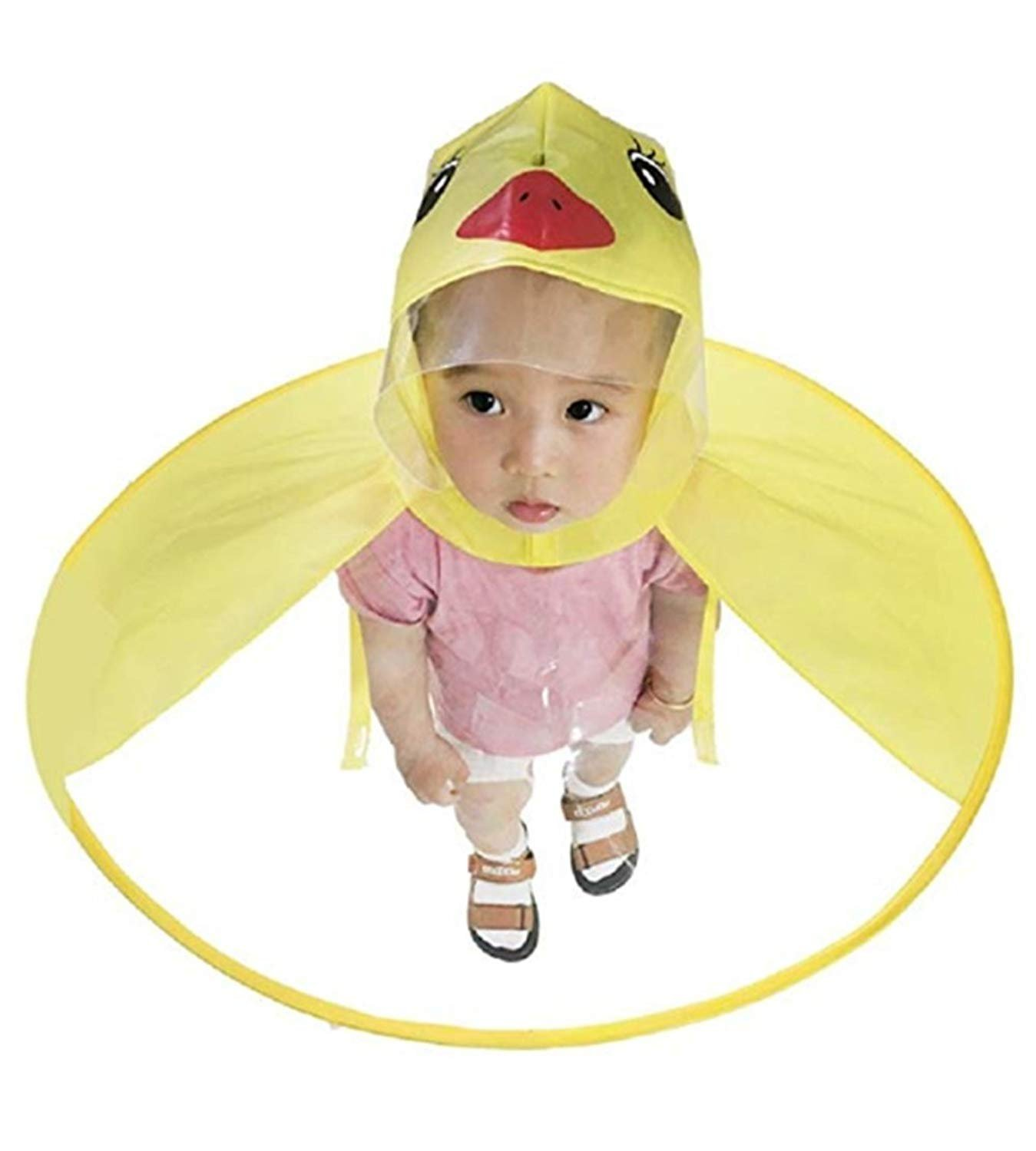 Cute Kids Raincoat Cartoon Umbrella Yellow Duck Packable Hooded Poncho Cloak for Boys Girls Baby Toddler