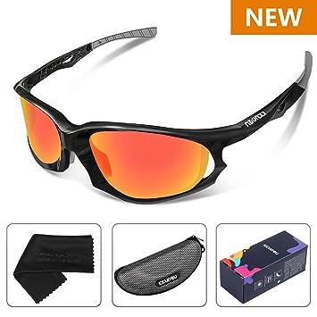 Léger Sport lunettes de Soleil Hommes Femmes Polarisées Lunettes de Sport Baseball Course Cyclism Vélo Pêche Golf (Rouge / Gris polarisé) lZzdsgY