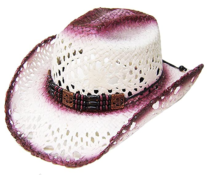Image Unavailable. Image not available for. Color  Modestone Women s Straw  Cowboy Hat Cranberry Off-White 9973174a329