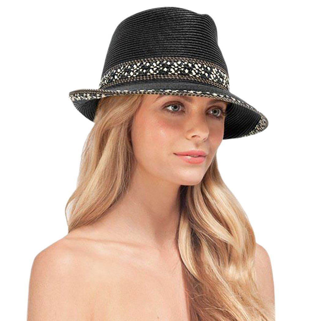 Eric Javits Designer Women's Luxury Headwear - Big Deal Hat - Black Mix
