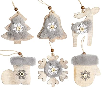 Tyoungg White Christmas Ornaments Rustic Wood Christmas Tree Ornaments Hangings Home Arch Tableware Decoration Indoor Outdoor Christmas Ornament Tree