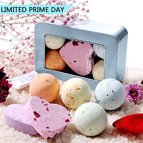 QQCute Bath Bomb Gift Set, All Natural Essential Oil Lush Spa Fizzies for Dry Skin,Best Gift for Women, Teen Girls, Birthdays, Add to Bath Bubbles, Basket, Bath Beads, Bath Pearls