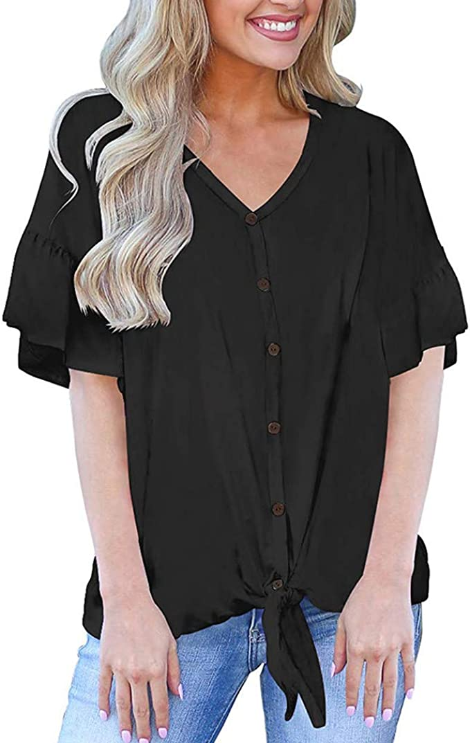 Women Tops Summer,SIN+MON Womens Short Sleeve Cold Shoulder Tunic Tops Blouse Shirts Solid V Neck Loose Shirts