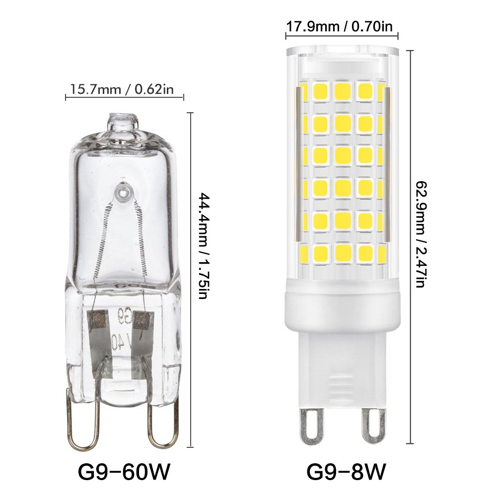 Kindeep G9 Led Bulb 60w 75 Watt Halogen Replacement Not How To Make A Flashlight 8211 For 2 15 Volt Batterie Dimmable 8w 650lm 6000k Daylight White Bulbs Interior Lighting 5 Pack
