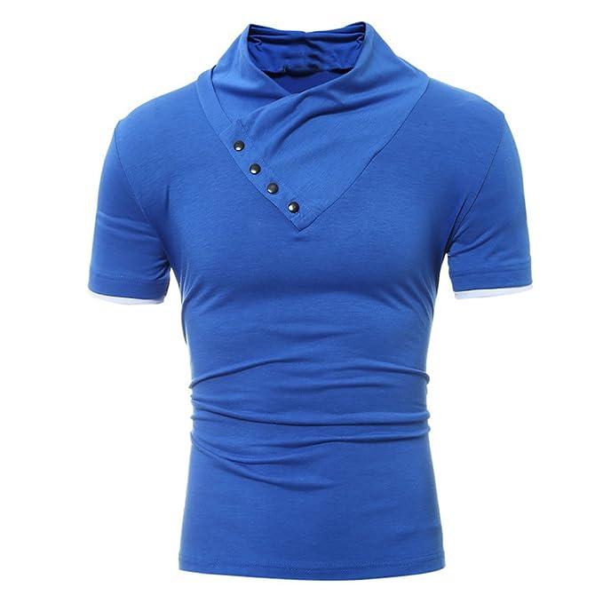 Camisas Casual para Hombre,BBestseller Hombre Camiseta de Manga Corta con Cuello Alto Camisetas Personalizadas Pullover Tops Shirts: Amazon.es: Ropa y ...