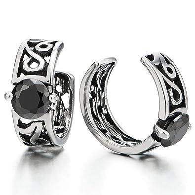 e3f9f006d 2pcs Vintage Ear Cuff Ear Clip Non-Piercing Clip On Earring for Men Women  Steel with Black CZ: Amazon.co.uk: Jewellery