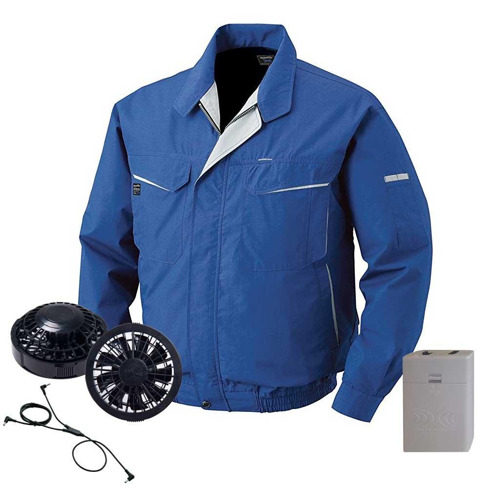 空調服 ブルゾン黒ファン電池ボックスセット KU90471 B07DW6RBZW 4L|4ブルー 4ブルー 4L