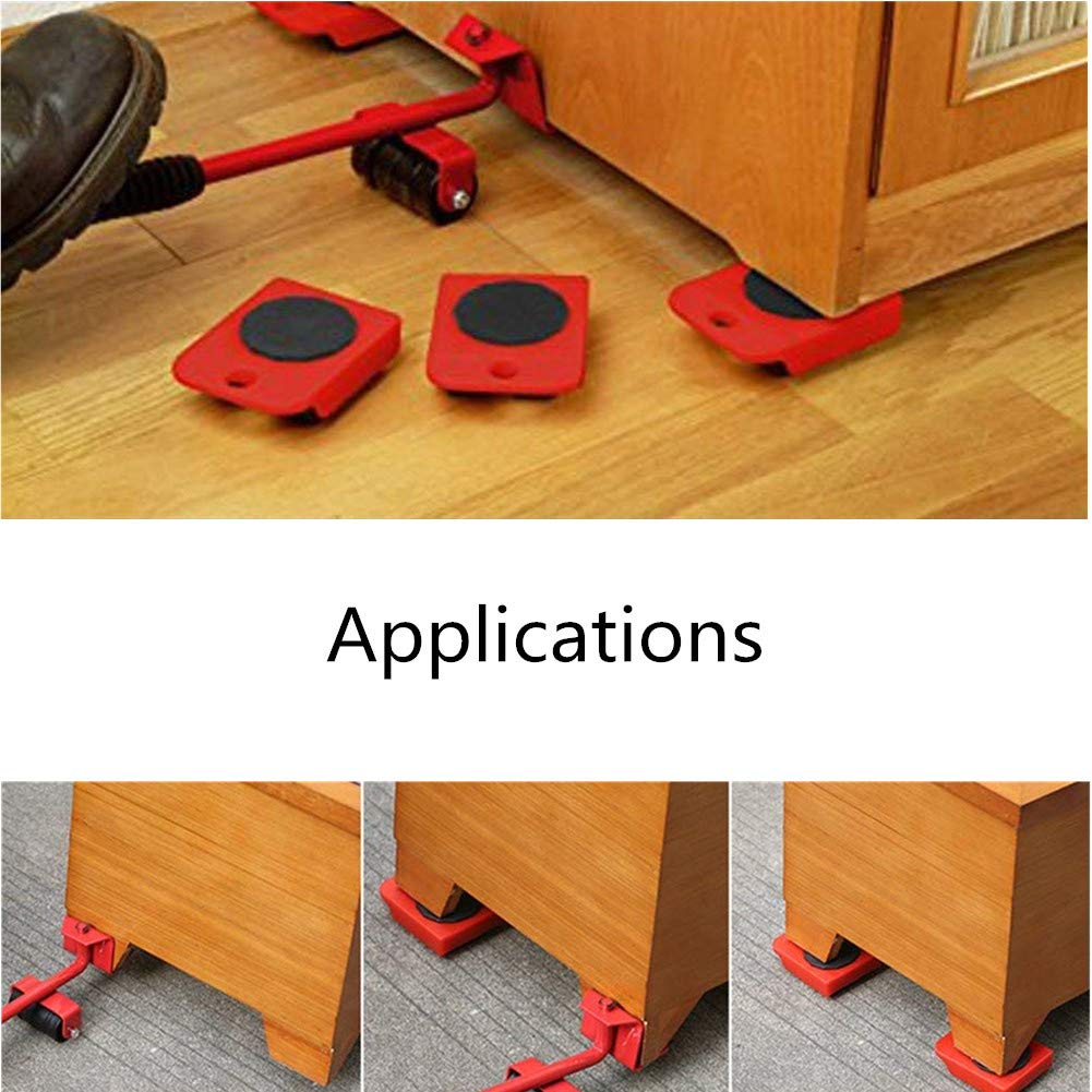 1 Lifting Rod and 4 Furniture Moving Rollers Red Wefond 1 Set Furniture Lifter Durable Heavy Appliance Furniture Lifting and Moving Tool Set for Heavy Furniture /& Appliance Lifting