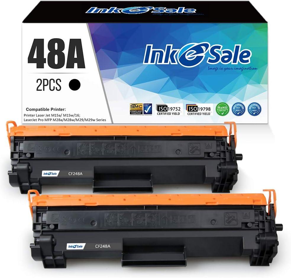 INK E-SALE Compatible Toner Cartridge Replacement for HP 48A CF248A M28w M15w (Black, 2-Pack),for use with HP Laserjet Pro M15 M15w M15a M16a M16w HP Laserjet Pro MFP M28 M28w M28a M29w M29a Printer