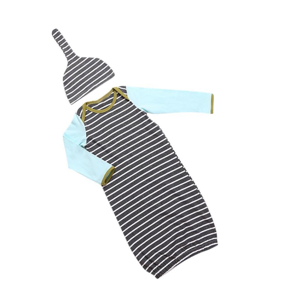 2 Pieces Newborn Unisex Baby Stripe Long Sleeve Nightgowns and Hat Sleepwear Set