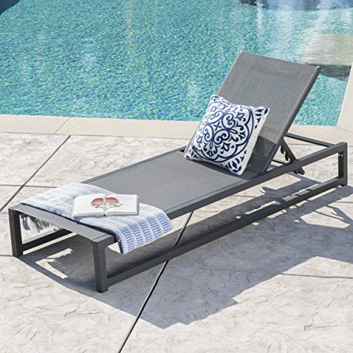 Mottetta Outdoor Black Finished Aluminum Framed Chaise Lounge with Grey Mesh Body