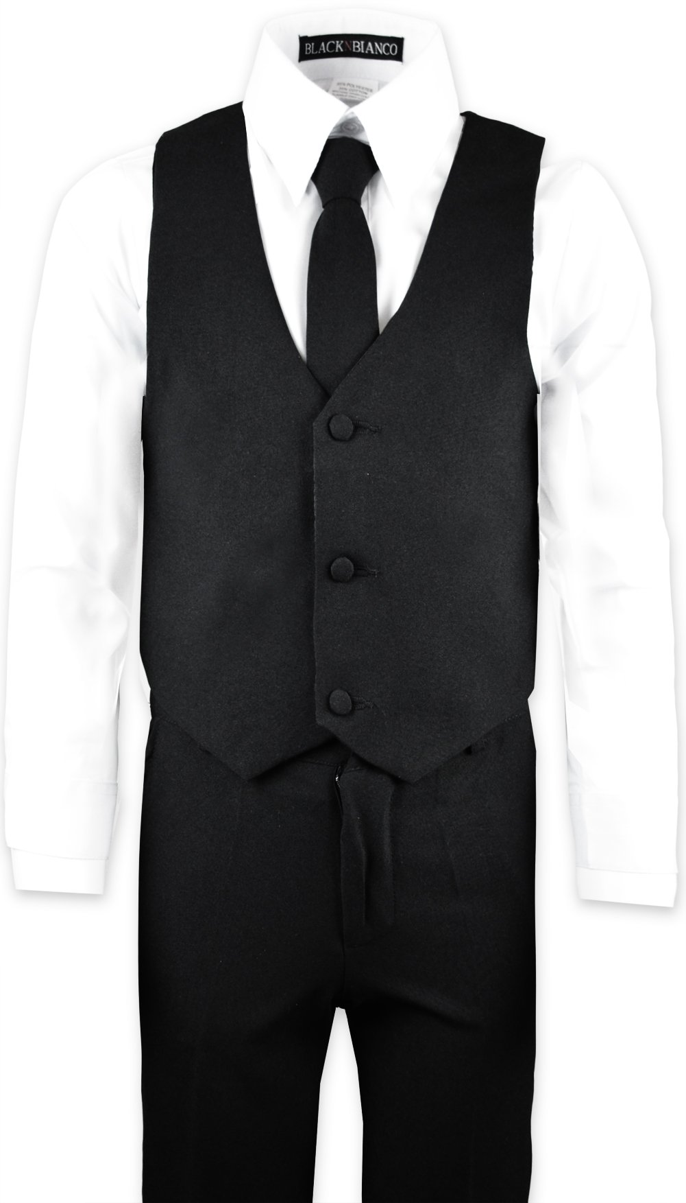 Boys Black Tuxedo Suit with Tie Young Boys Youth Size 16 by Black n Bianco (Image #6)