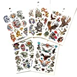 5 Packs Body Art Temporary Tattoo Book, Dragon Eagle Skull Animals Tattoos for Guys Halloween Tattoos for Guys