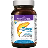 New Chapter Wholemega Fish Oil Supplement, 100% Wild Alaskan Salmon Oil with Omega-3 + Vitamin D3 + Astaxanthin - 90 ct Tiny Caps
