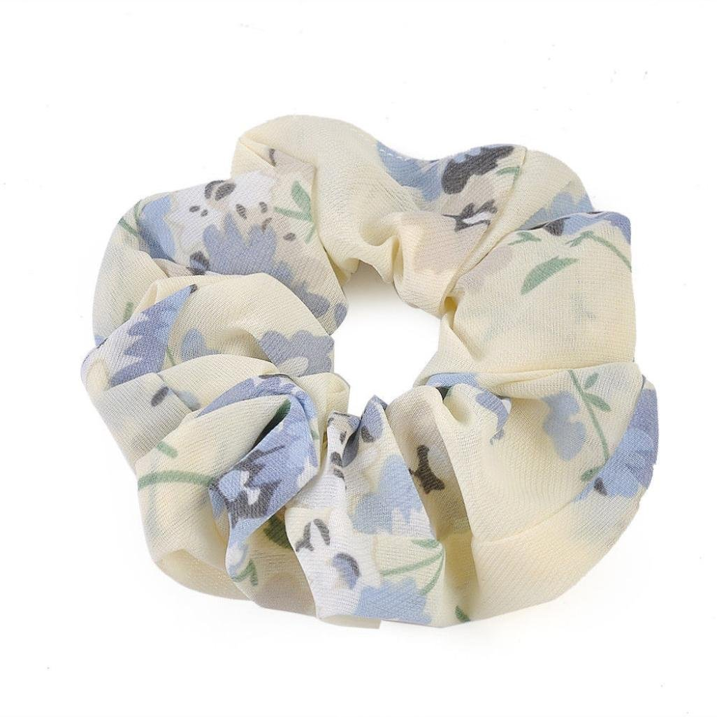 Amazon.com : IKevan Summer Floral Hair Scrunchies Bun Ring Elastic Fashion Sports Dance Scrunchie (White) : Beauty