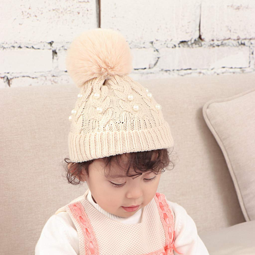 Webla Knitted Beanie Autumn And Winter Kids Beading Ball Cap Hat Wool Hat Baby 1-6 Years