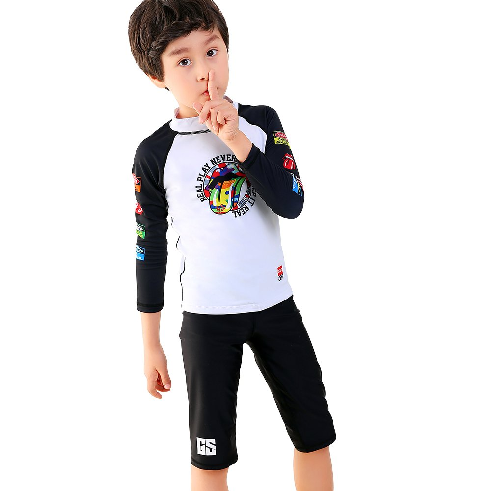 Swim Sun Protection GSOU Snow Boys Kids Rash Guard Two-Piece Swimsuit Diving Long Sleeve Shirt Pants Swimwear UPF 50