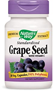 Nature's Way Premium Extract Standardized Grape Seed with Vitamin C 95% Polyphenols, 100 mg per Serving, 30 Vcaps