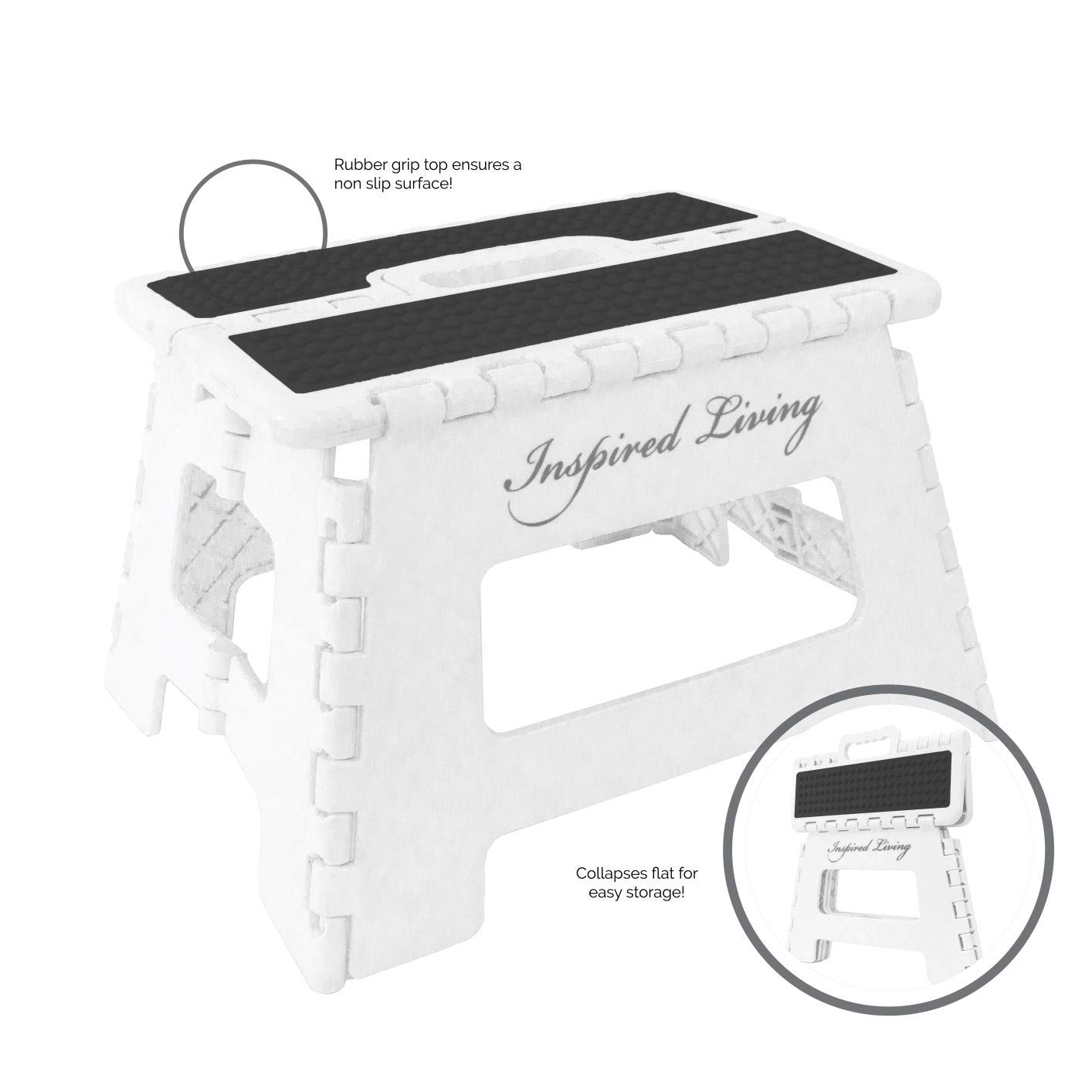 "Inspired Living Folding Step Stool Heavy Duty, 9"" High, WHITE ONYX"