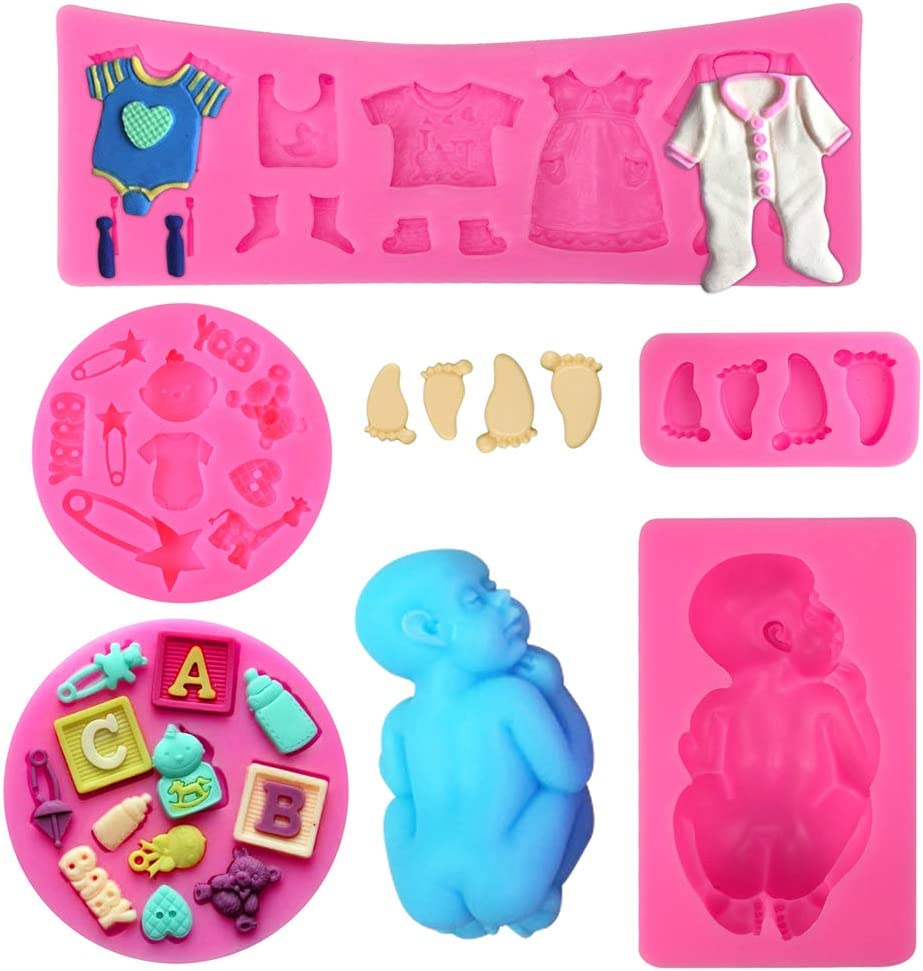 Gender Reveal Party Gummy Sugar Chocolate Candy Cupcake Mold Baby Birthday Party Kitchen Baking Mold Cake Decorating Moulds Modeling Tools Rainmae 5 Pcs Cute Baby Silicone Fondant Cake Mold