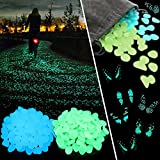 Tomnk 300PCS Glow Stones Glow in the Dark Glow Pebble Blue and Green Glow Pebble for Garden Walkway and Decor, with Gift of Glow in the Dark Butterfly