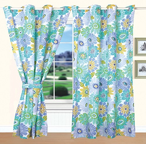 All American Collection New 4pc Flower Printed Bedspread Set w/ Matching Curtains Green/Blue