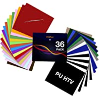 """HTV Heat Transfer Vinyl Bundle: 36 Pack 12"""" x 10"""" Iron on Vinyl for T-Shirt, 27 Assorted Colors with HTV Accessories…"""