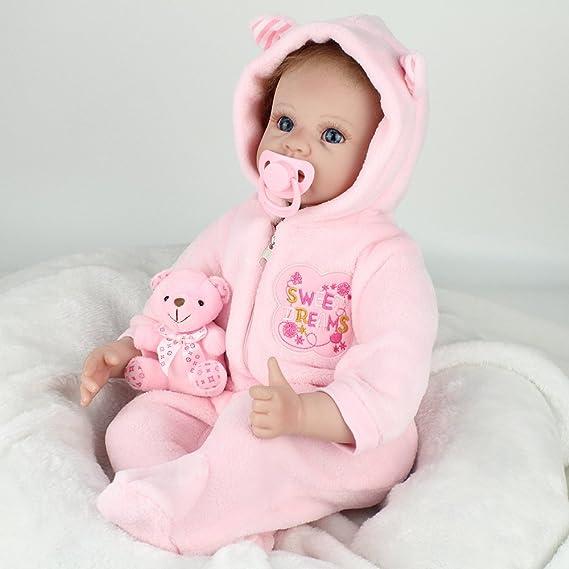 LLX Nicery Reborn Baby Dolls 22 Pulgadas 55 Cm Vinilo De Silicona Suave Reborn Toddler Realistic Real Lifelike Newborn Dolls Baby Girl Juguete De ...