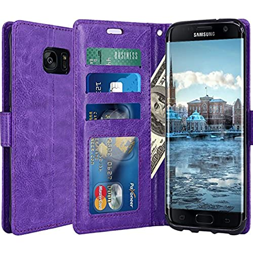Galaxy S8 Case, LK Luxury PU Leather Wallet Flip Protective Case Cover with Card Slots and Stand for Samsung Galaxy S8 (Purple) Sales