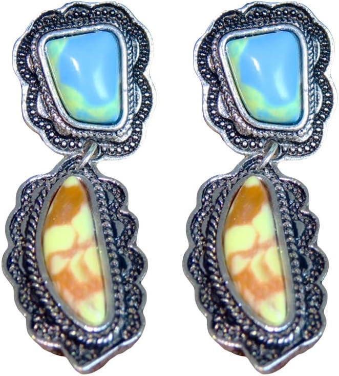 Pendientes de tuerca con incrustaciones de turquesa sintética para mujer, estilo retro, joyería de regalo