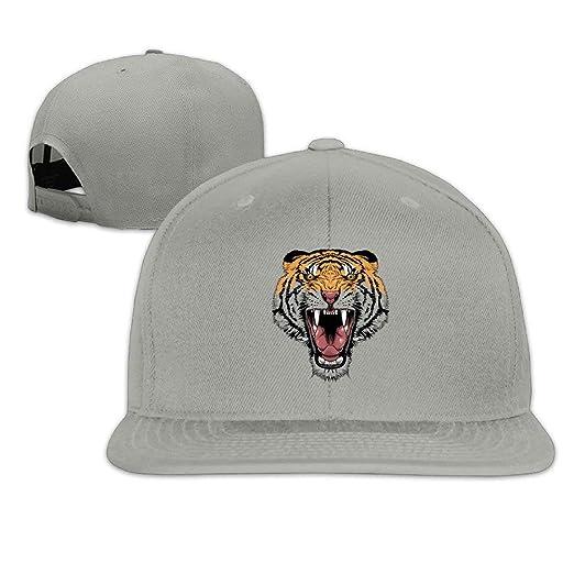 5cc8945ffd6e6 Tiger Face Animal Unisex 100% Cotton Adjustable Flat Brim Baseball Hats Hip  Hop Snapback Visor Cap Vintage Relaxed Trucker Hat for Dad Mom at Amazon  Men s ...