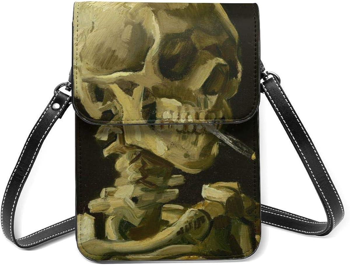 Bolso para teléfono celular, cráneo de un esqueleto con pintura de cigarrillo ardiente pequeña bolsa de Crossbody mini bolso de teléfono celular pasaporte monedero con correa ajustable para el hombro