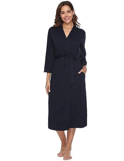 iClosam Batas Mujer Algodón Largo,Kimono con Cinturón Primavera,Ropa de Dormir Cuello en
