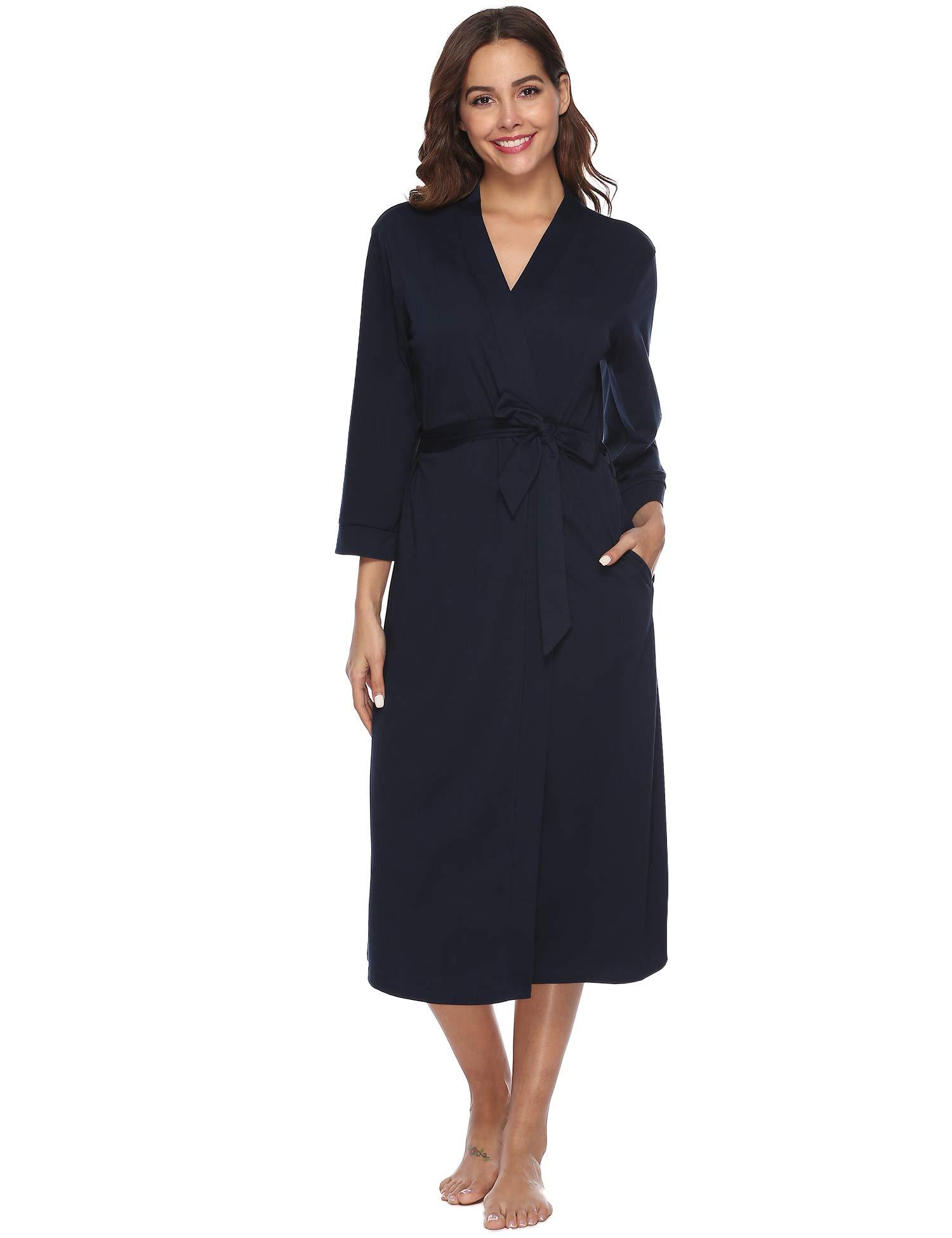 iClosam Batas Mujer Algodón Largo,Kimono con Cinturón Primavera,Ropa de Dormir Cuello en V Suave y Comodo S-XXL product image