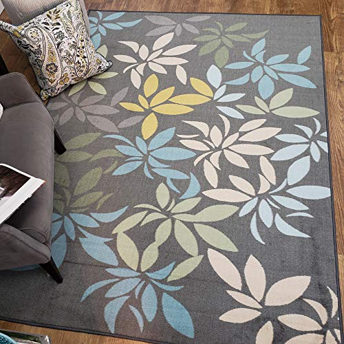 Maxy Home Adaline Floral Leaves Soft Cut Pile Non Slip 3'3