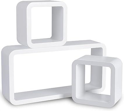 WOLTU Estantería de Pared Estantería Cubo Conjunto de 3 Estante Retro Colgantes CD Libreria Decorativo Baldas Flotante Pared Blanco 9210-a