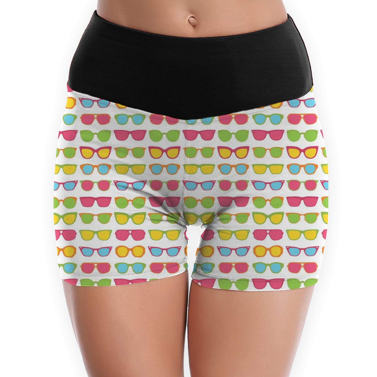 Womens Yoga Booty Shorts Glasses High Waist Compression Tights Slim Fit Stretch Fitness