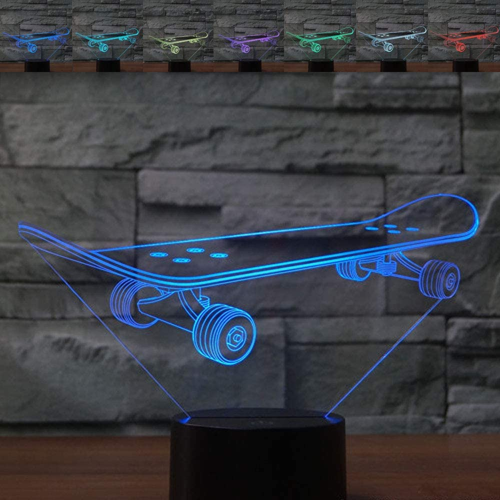 3D Optical Illusion Night Light Skateboard Touch 7 Colorful USB LED Desk Lamp