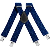Mens 50MM Wide Suspenders X Shape Adjustable Elastic Trouser Braces with Metal C