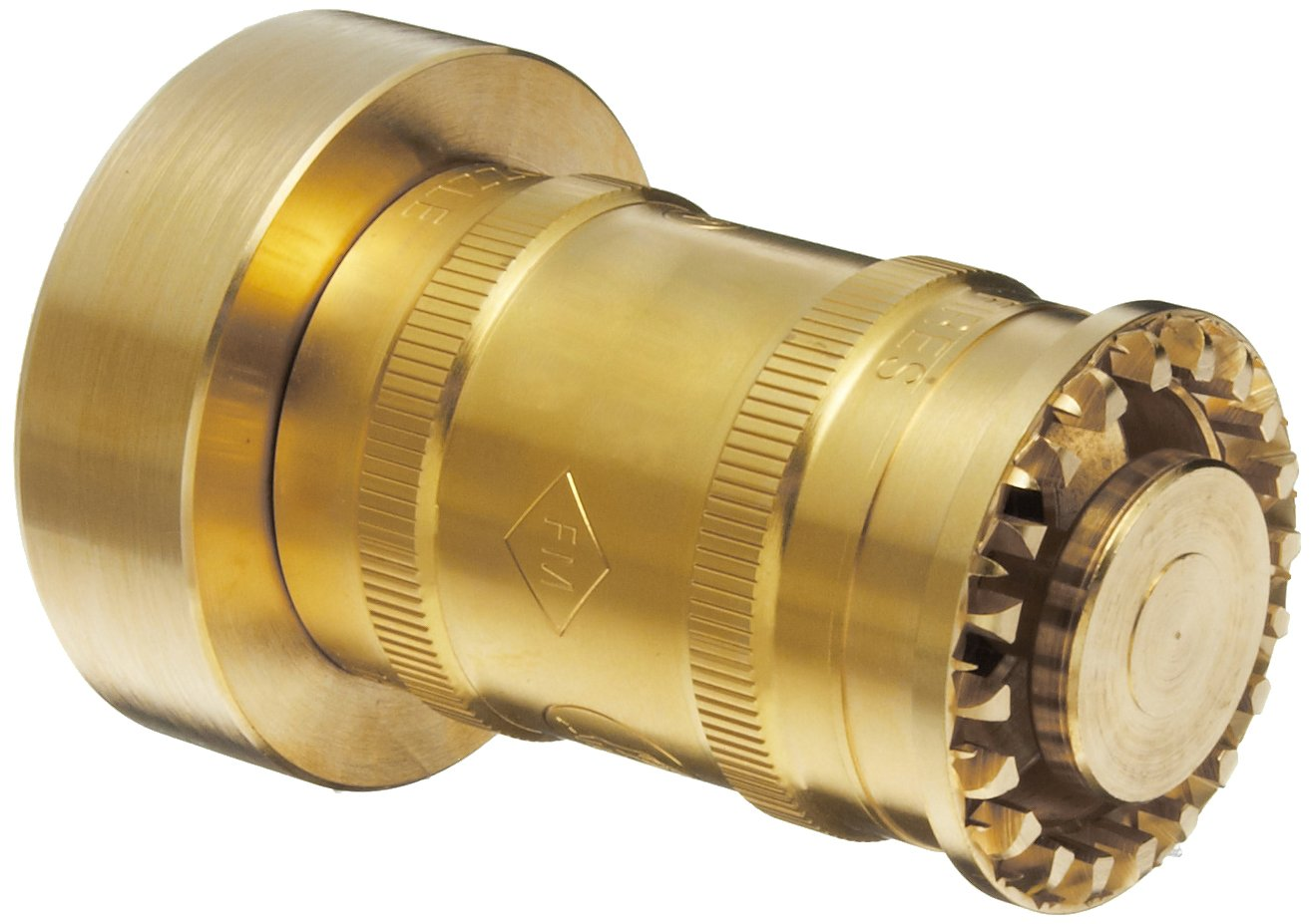 Moon BRN151NST Brass Fire Hose Nozzle, Twist On/Off, 60 gpm, 1-1/2 NST 1-1/2 NST Moon American