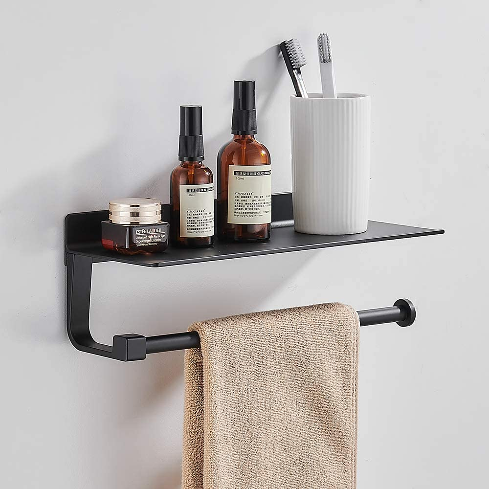 Joom Paper Towel Holder Wall for Kitchen 13 Inch, Bathroom Tissue Roll Hanger with Mobile Phone Storage Shelf,Space Aluminum, Self Adhesive with Glue or Wall Mount with Screws (Black)