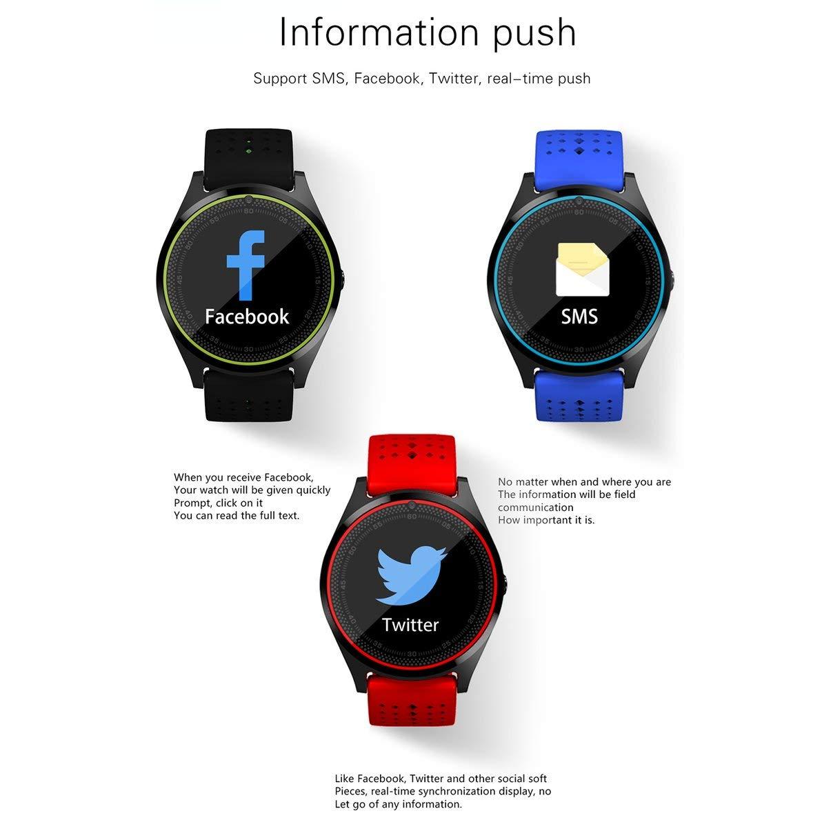 V9 Bluetooth Reloj Inteligente Cámara Tarjeta SIM Smartwatch Podómetro Salud Deportes Reloj Hombres Mujeres Smartwatch para Android para iOS: Amazon.es: ...