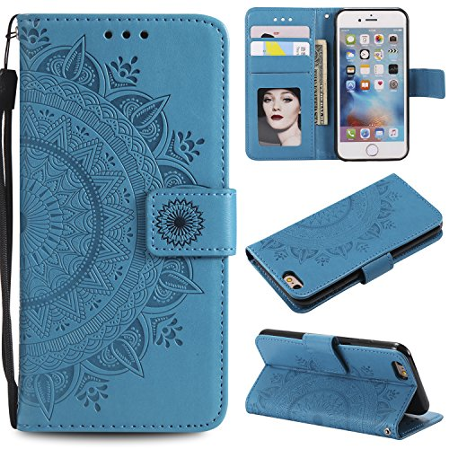 Floral Wallet Case for iPhone 7 4.7'',Strap Flip Case for iPhone 8 4.7'',Leecase Embossed Totem Flower Design Pu Leather Bookstyle Stand Flip Case for iPhone 7/8 4.7''-Blue by Leecase