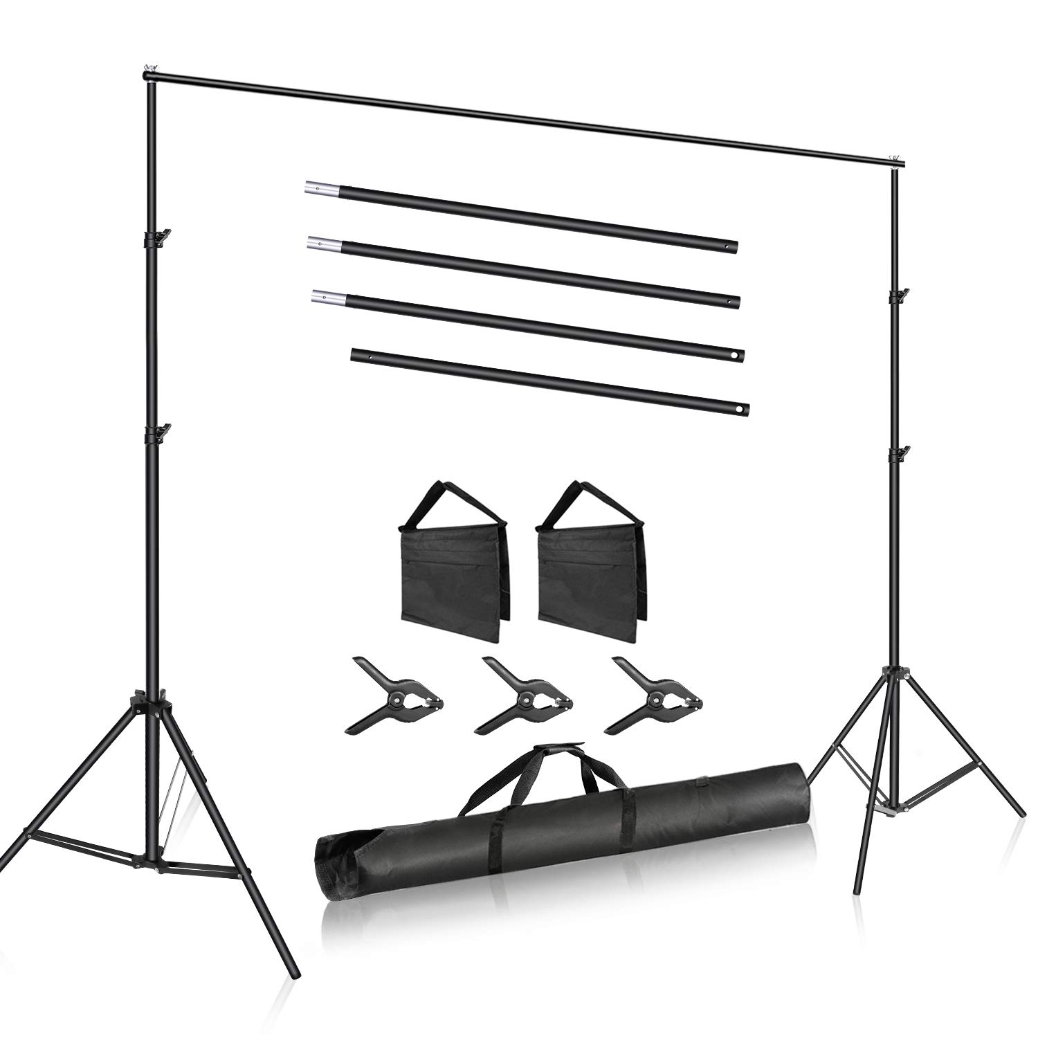 Neewer Photo Studio 10ft/3m Wide Cross Bar 6.6ft/2m Tall Adjustable Background Stand Backdrop Support System with 3 Backdrop Clamps, 2 Sandbags and Carry Bag for Portrait Product Video Photography